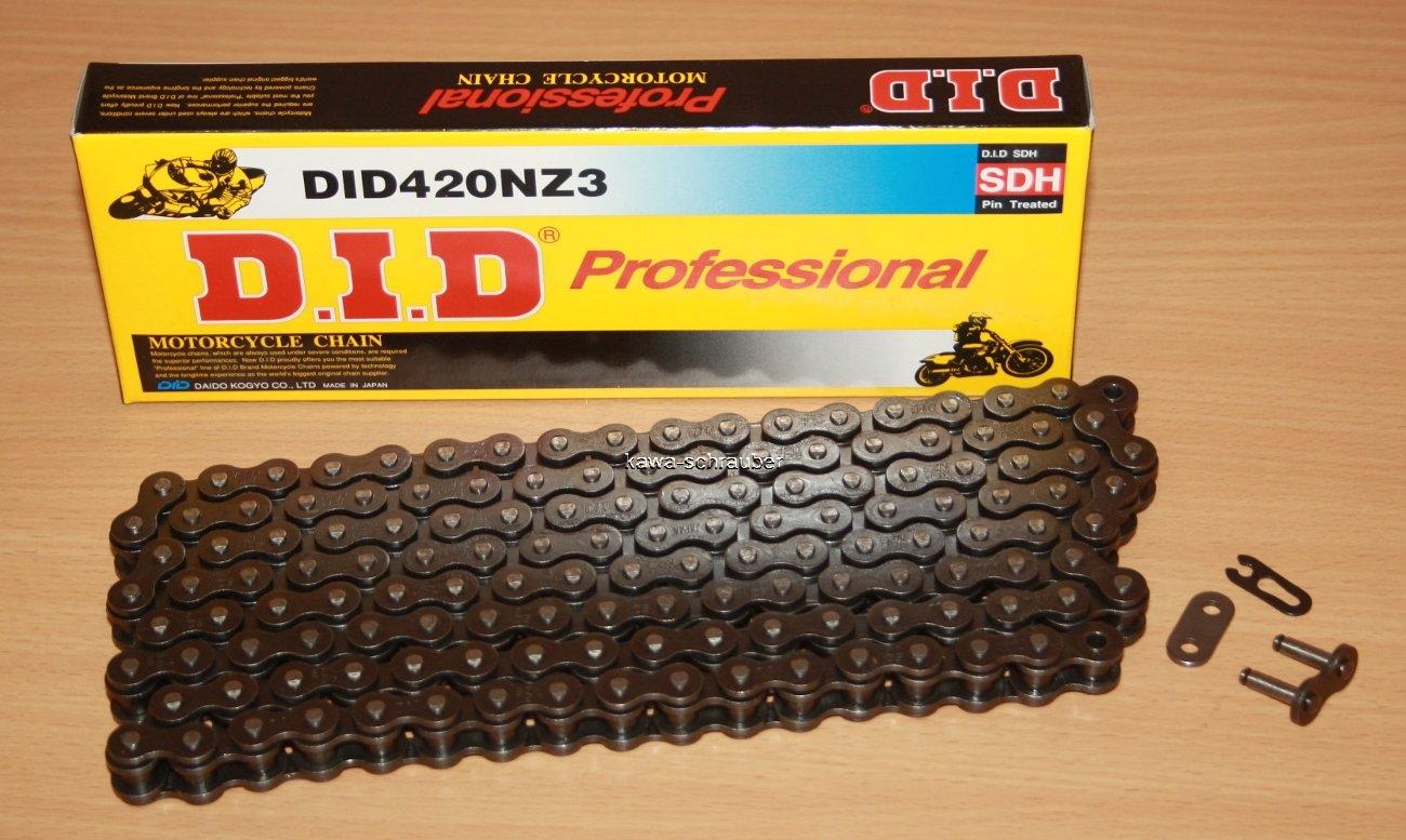 DID Kette 420 NZ3 doppelt verst/ärkt gold//schwarz 128 Glieder offen Clipschloss
