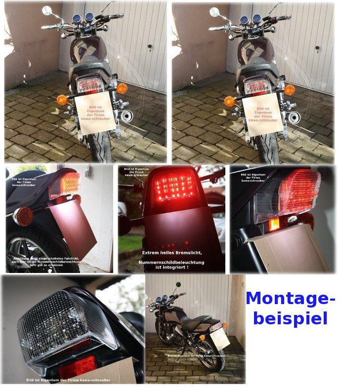 Rücklicht LED Klarglas E-geprüft für Kawasaki ZR 1100 ZR1100 B Zephyr 1992-1998